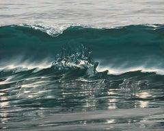 Molten Silver original realism ocean painting Contemporary Art 21st Century