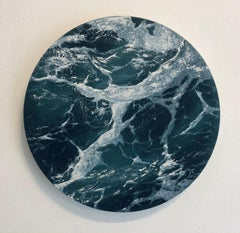 Moon Sea VI - original seascape painting circular contemporary modern art