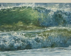 Nearly sunset original seascape painting Contemporary realism Art 21st