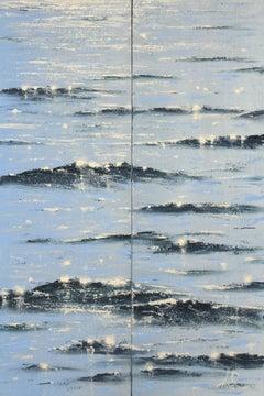 Sea Diamonds 19 (diptych) - original contemporary seascape painting