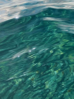 Shades of Green - original realism ocean painting Contemporary Art 21st Century