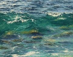 Warm Rocks original seascape painting Contemporary realism Art 21st