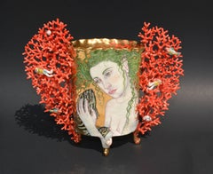 Contemporary Porcelain Sculpture with Painted Illustration and Gold Luster Glaze