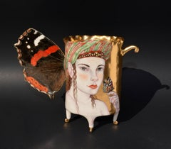 """Cardinal Butterfly Cup"", Contemporary Porcelain Sculpture, Painted Illustration"