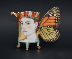 Monarch Butterfly Cup, Contemporary Porcelain Sculpture with Illustration, Gold