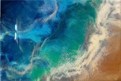 SEA WAVE, Mixed Media on Wood Panel