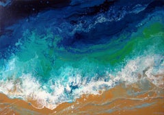 BLUE TURQUOISE SEA, Painting, Acrylic on Canvas