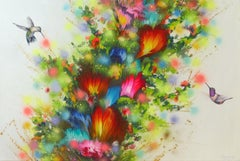 FLOWERS AND HUMMINGBIRDS, Painting, Acrylic on Canvas