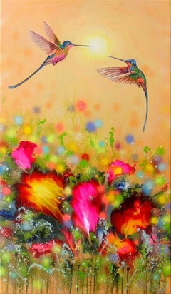 HUMMINGBIRD AT SUNSET, Painting, Acrylic on Canvas