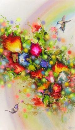 HUMMINGBIRDS AND RAINBOW, Painting, Acrylic on Canvas