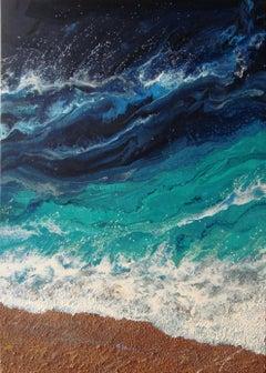 SEASCAPE  ΓÇ£TURQUOISE WAVESΓÇ¥, Painting, Acrylic on Canvas