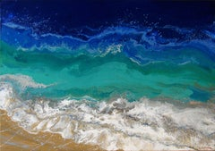 SEASCAPE WHITE WAVES, Painting, Acrylic on Canvas