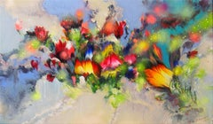 SUMMER FLOWER MELODIES, Painting, Acrylic on Canvas