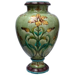 """Iris"" a Théodore Deck Enameled Faience Vase, circa 1875"