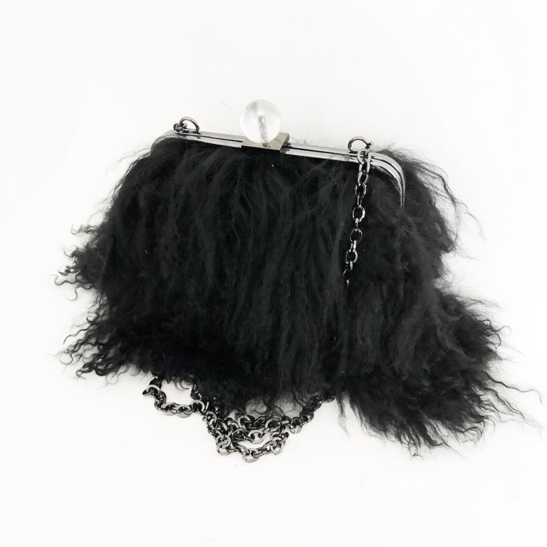 Iris Apfel Extinctions Black Mongolian Lamb Fur Shoulder Bag Clutch  In Good Condition For Sale In Port Saint Lucie, FL