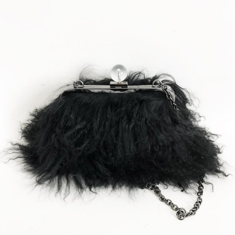 Women's Iris Apfel Extinctions Black Mongolian Lamb Fur Shoulder Bag Clutch  For Sale