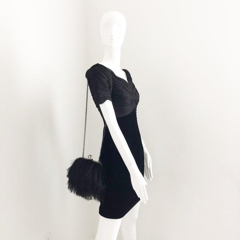 Iris Apfel Extinctions Black Mongolian Lamb Fur Shoulder Bag Clutch  For Sale 1