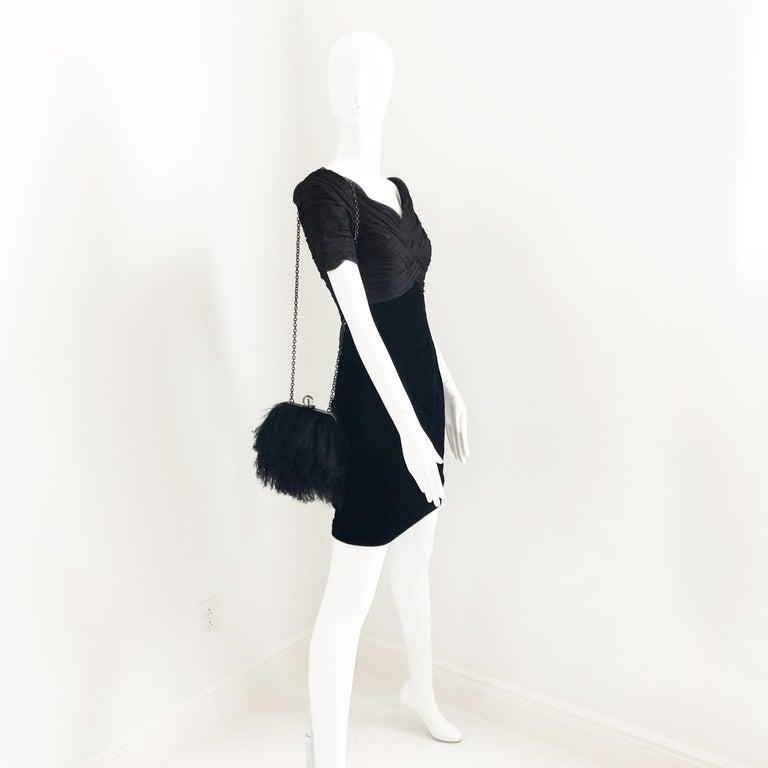 Iris Apfel Extinctions Black Mongolian Lamb Fur Shoulder Bag Clutch  For Sale 2