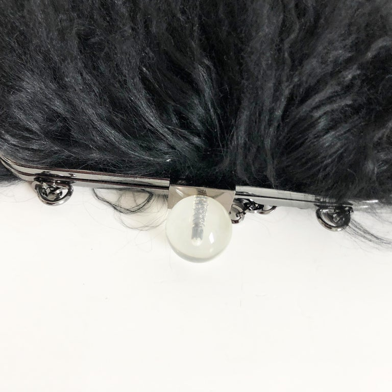 Iris Apfel Extinctions Black Mongolian Lamb Fur Shoulder Bag Clutch  For Sale 5