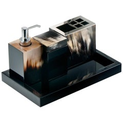 Iris Bath Set in Black Lacquered Wood with Horn Inlays, Mod 1950-1951-1952-1953
