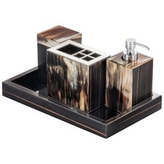 Iris Bath Set in Glossy Ebony with Corno Italiano Inlays Mod 4771-4772-4773-4774