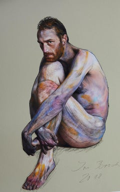 Kauernder Mann, Homage to Egon Schiele, nude