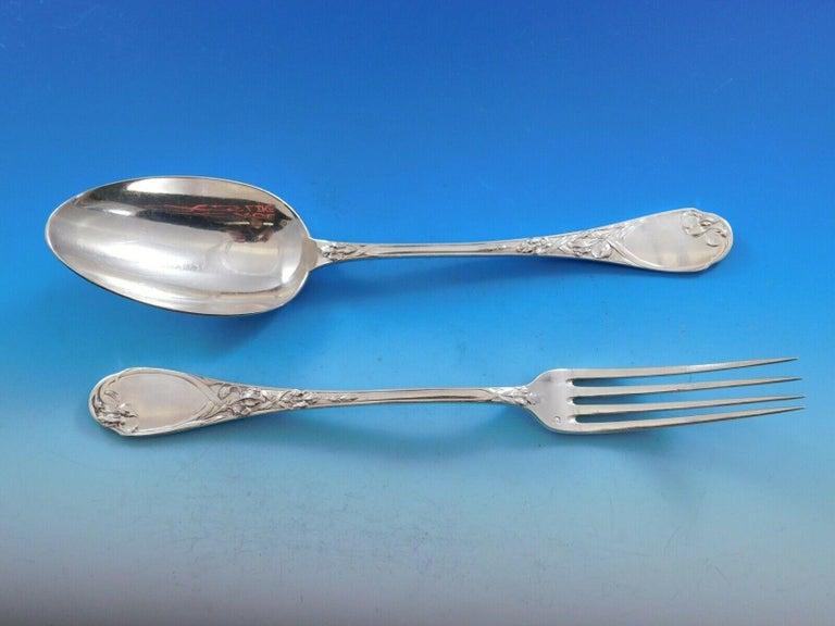 Iris by Puiforcat France Sterling Silver Flatware Set Service 198-Pieces Dinner For Sale 6