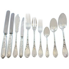Iris by Puiforcat France Sterling Silver Flatware Set Service 198-Pieces Dinner