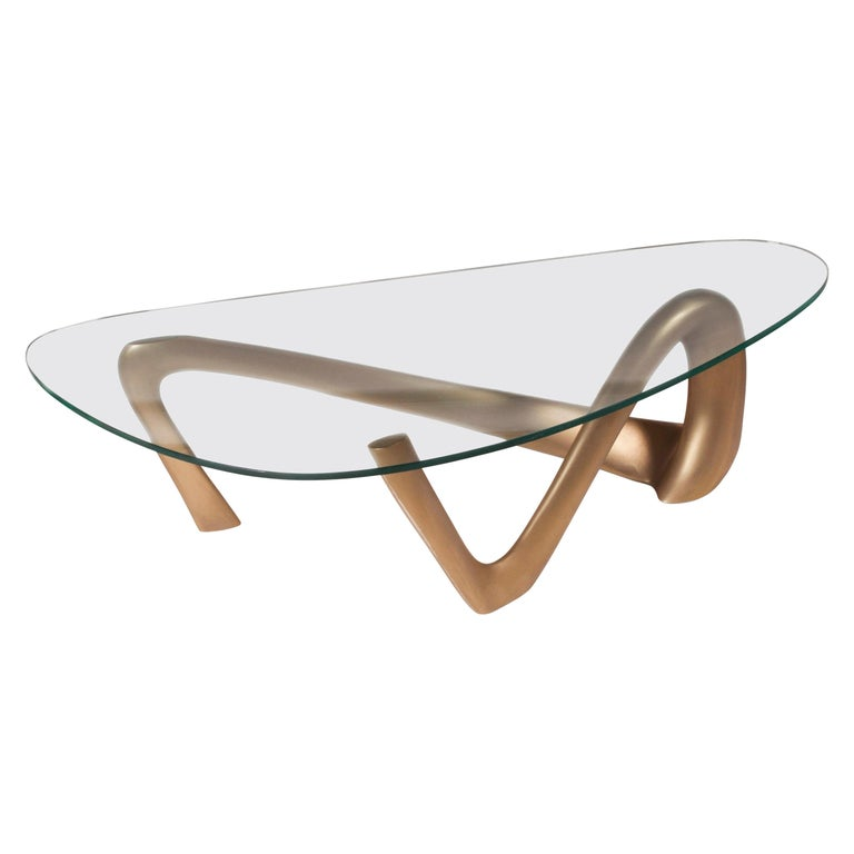 Amorph Iris Coffee Table Gold Finish 55 Inch L For Sale At 1stdibs