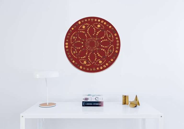 """Iris Large custom wall hanging features various fruit wood end-grain embedded in ABDB Maroon resin. Complete with pieces necessary to place on wall.  Measures: 27"""" diameter.  Handmade by Djivan Schapira. Lead time: 6-8 weeks. Ships from New"""