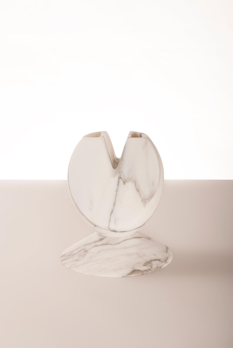 Modern Iris, Marble Contemporary Vase, Valentina Cameranesi