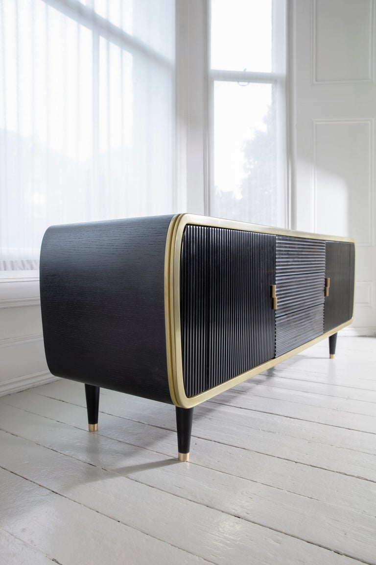 Blackened Iris Oak Brass and Corian Credenza Dry Bar Cabinet For Sale