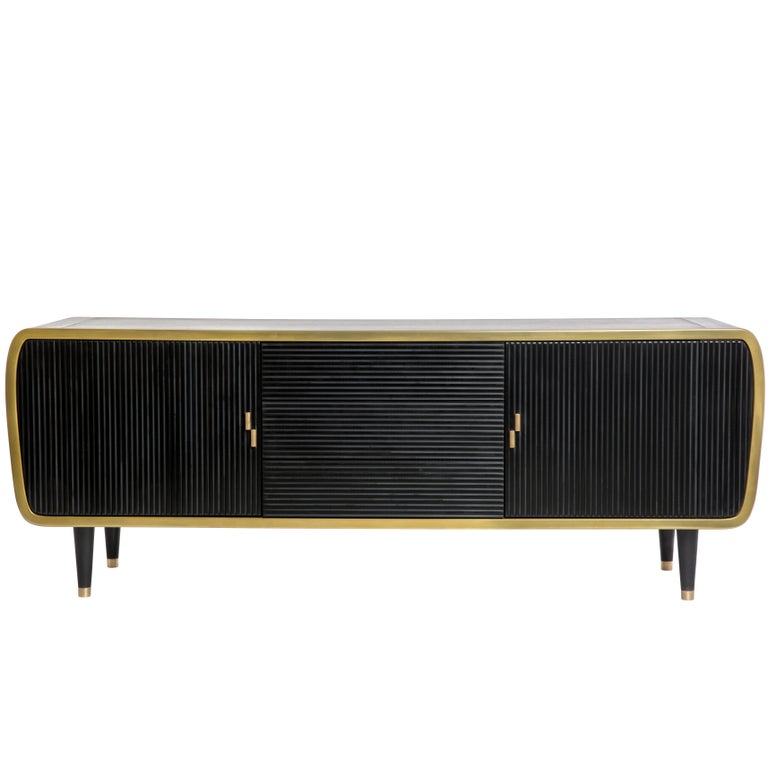 Iris Oak Brass and Corian Credenza Dry Bar Cabinet For Sale 1