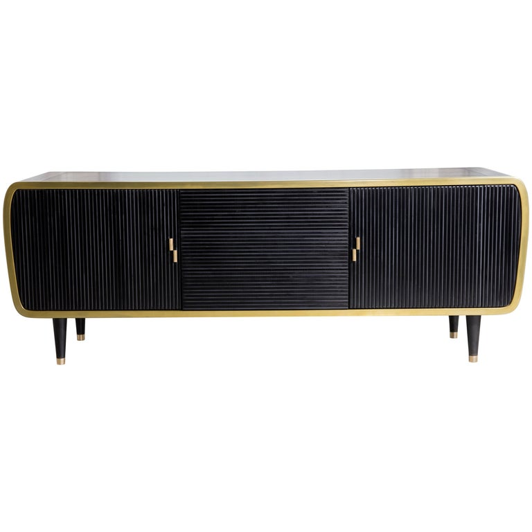 Iris Oak Brass and Corian Credenza Dry Bar Cabinet For Sale