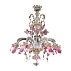 Iris Pink 6-Light Chandelier