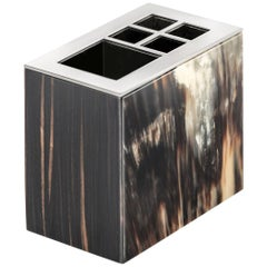 Iris Toothbrush Holder in Glossy Ebony with Corno Italiano Inlays Mod. 4773