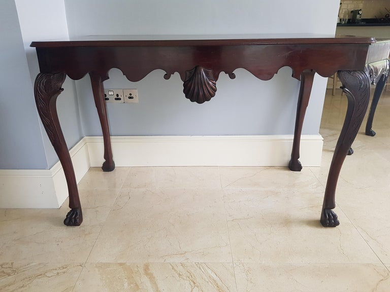 Irish 19th Century Finely Carved Mahogany Side Table Attributed to James Hicks For Sale 5