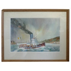 Irish 20th Century Tugboat Oil on Canvas by Chuck Clee