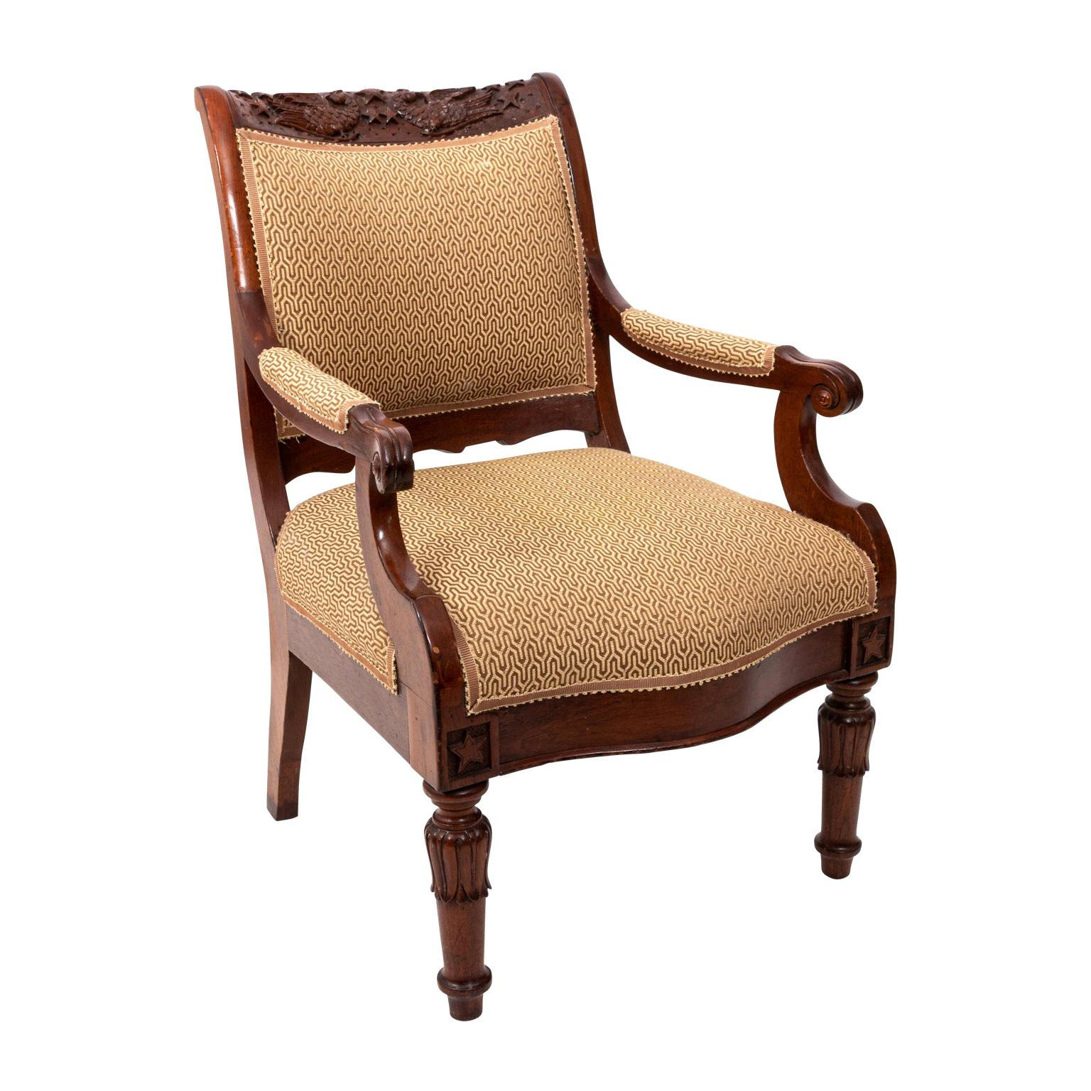 Irish Armchair with Upholstered Seat, circa 19th Century