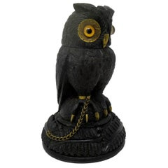 Irish Bog Oak Hand Carved Wooden Owl poss by Cornelius Goggin Dublin Ireland