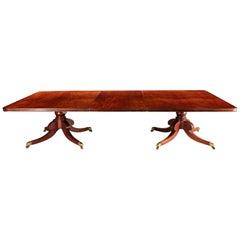 Irish Brown Mahogany Twin Pedestal Dining Table