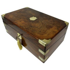 Irish Dublin Georgian Burl Walnut Brass Bound Traveling Writing Slope Box