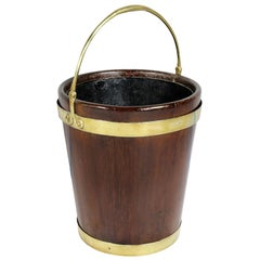 Irish Georgian Mahogany and Brass Peat Bucket