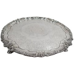Irish Georgian Sterling Silver Armorial Salver Tray by Letablere