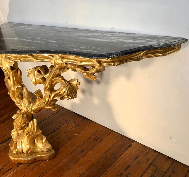 Irish Giltwood Grapevine Form Marble-Top Console, Late 18th Century For Sale 14