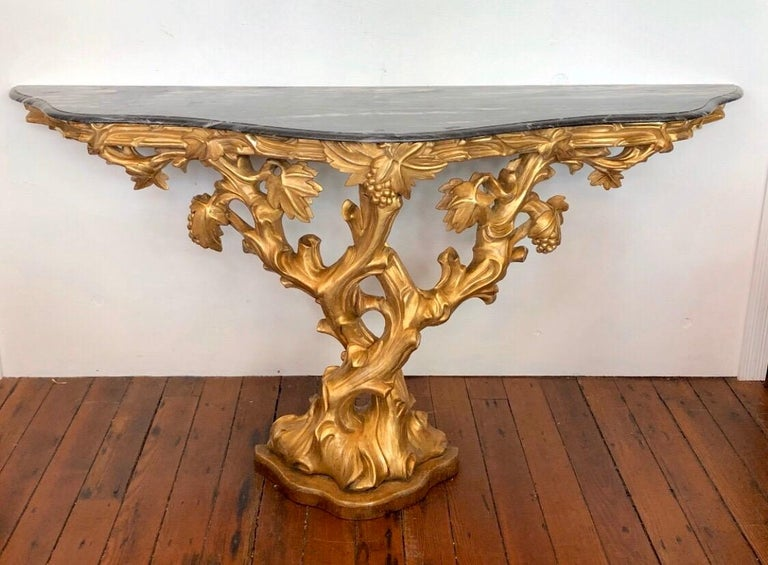 Rococo Irish Giltwood Grapevine Form Marble-Top Console, Late 18th Century For Sale