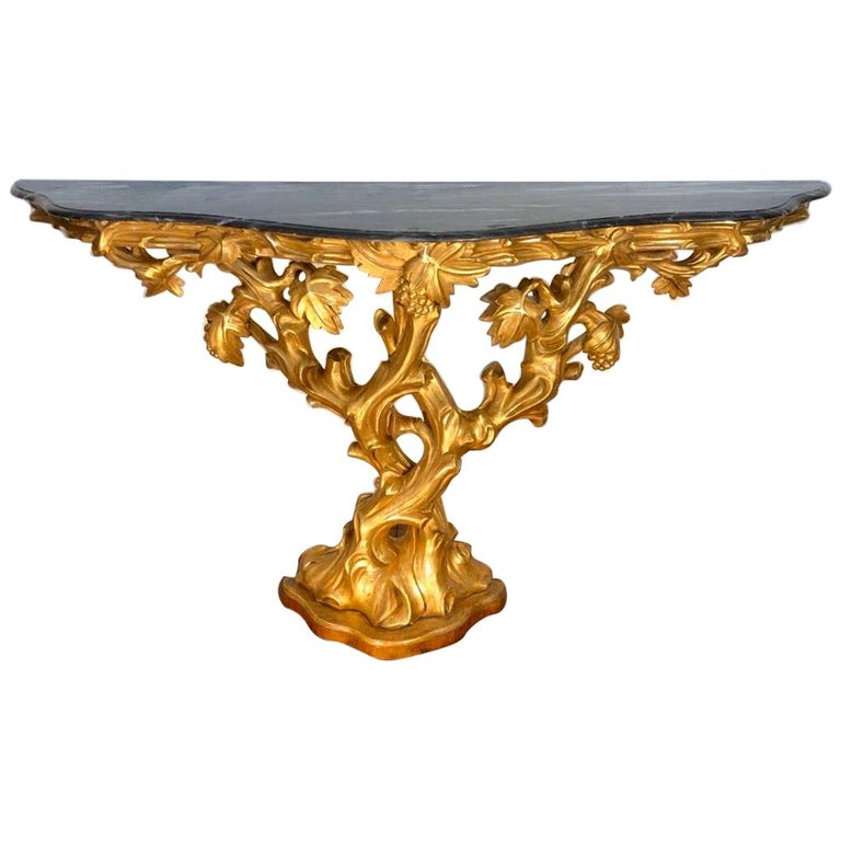 Irish Giltwood Grapevine Form Marble-Top Console, Late 18th Century For Sale