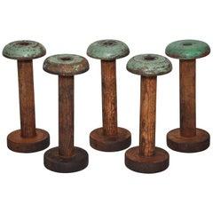 Irish Linen Green Wooden Bobbins Spools Set of Five