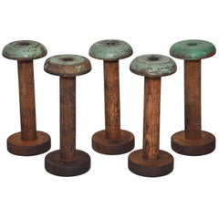 Irish Linen Green Wooden Bobbins Spools Set of Five
