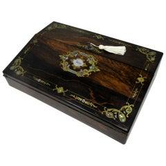 Irish Mahogany Mother of Pearl Writing Slope Box by Austins Dublin, circa 1860